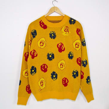 Fucking Awesome - Botanical Knitted Sweater - Mustard