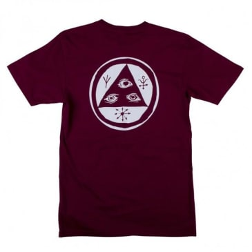 Welcome Skateboards Talisman T-Shirt - Burgundy / White