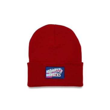 Quartersnacks Rubber Label Beanie - Red