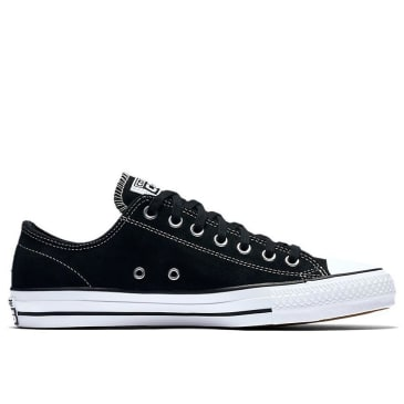 Converse Chuck Taylor All Star Pro Low Top Shoes - Black/Black/White - Suede