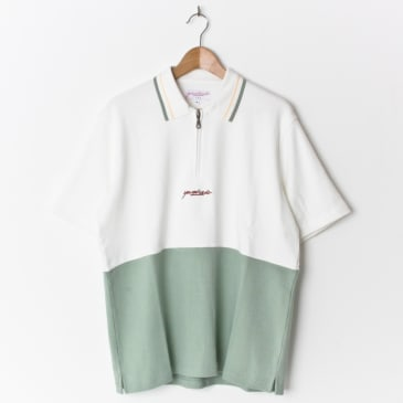 Yardsale Tiger 1/4 Zip Polo Linden Green/White