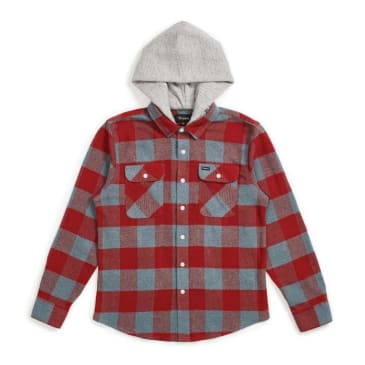 Brixton Bowery Hooded Flannel Blue Haze/Cardinal