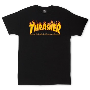 THRASHER YOUTH FLAME LOGO TEE - BLACK