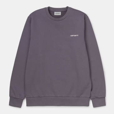 Carhartt WIP Script Embroidery Crewneck Sweatshirt - Decent Purple / White