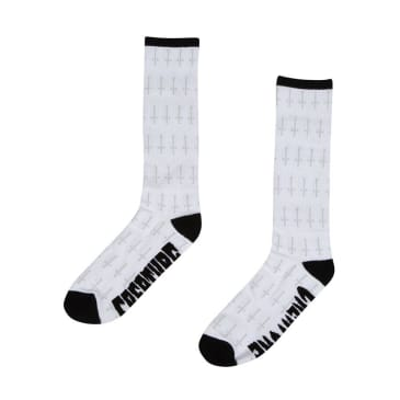 Creature Skateboards Holy Crosses Mens Crew Socks - White