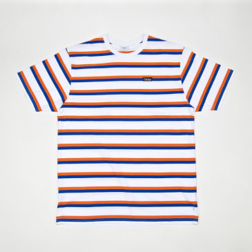 Civilist Stripe T-Shirt - White / Blue / Orange