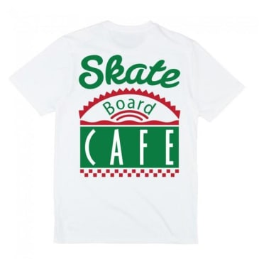 Skateboard Cafe Latte Diner Logo T-Shirt - White