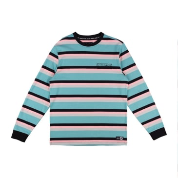 Welcome Skateboards Medius Stripe Yarn Dyed Long Sleeve Knit T-Shirt - Dusty Teal