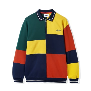 Butter Goods Patchwork Pullover Sweatshirt - Navy / Brick / Gold