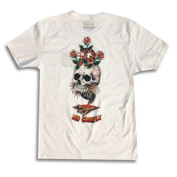No Comply Deck Design Skull T-Shirt - White