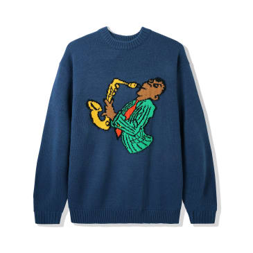 "BUTTER GOODS- ""SAX KNIT SWEATER"" (NAVY)"