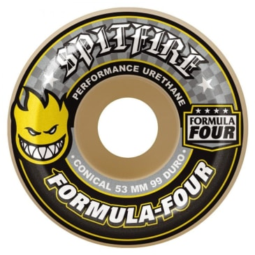 Spitfire Wheels - Spitfire Formula Four Skateboard Wheels Conical Yellow Print 99DU | 54mm