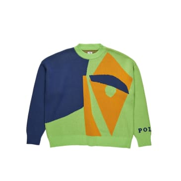 Polar Skate Co Selfie Knit Sweater - Green / Dark Blue / Orange