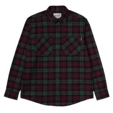 Carhartt WIP Pelkey Flannel Shirt - Chrome Green/Merlot