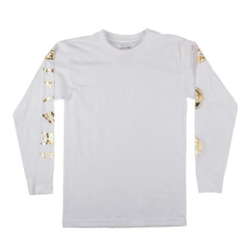 Welcome Skateboards Binary Long Sleeve T-Shirt - White / Gold
