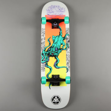 """Welcome 'Bactocat on Bunyip' 8"""" Complete Skateboard (White)"""