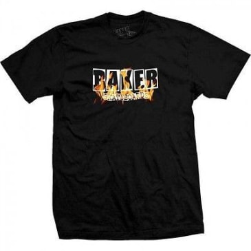 Baker Skateboards Fire Burning Logo T-Shirt - Black