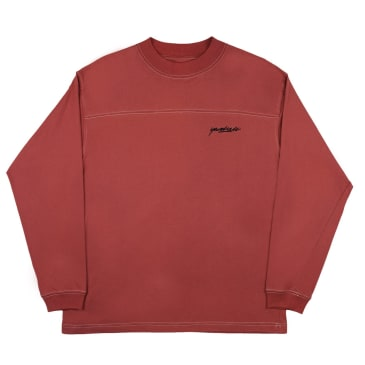 Yardsale Script Polo Long Sleeve - Crimson