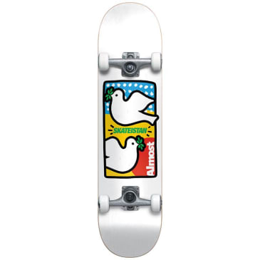 "Almost Skateboards - 7.875"" Double Doves Skateistan Youth Complete Skateboard (White)"