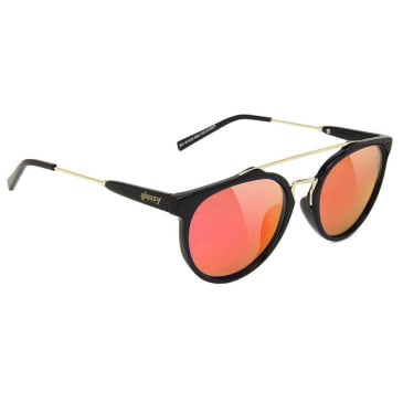 Glassy - Chuck Classic Sunglasses - Black/Red Mirror