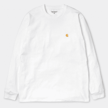 Carhartt WIP Chase Long Sleeve T-Shirt White - Gold