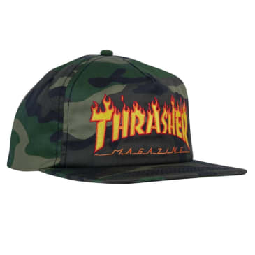Thrasher Flame Embroidered Snapback - Camo