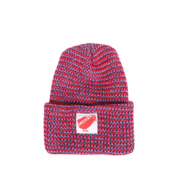 Orchard Red Bird Watch Beanie - Multi Color Red / Blue / Grey