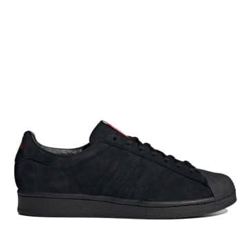 adidas Skateboarding Superstar ADV x Thrasher Shoes - Core Black / Scarlet / Gold Metallic