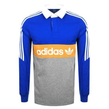 ADIDAS HERITAGE L/S POLO - BLUE/GOLD