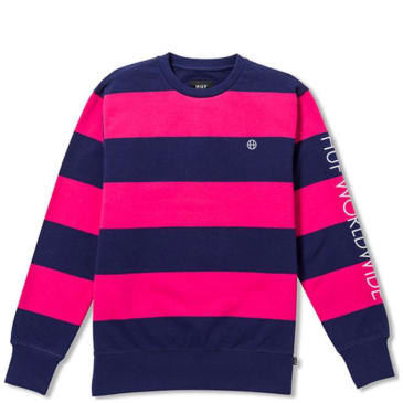 HUF Catalina Strip Crew Fleece - Magenta Navy