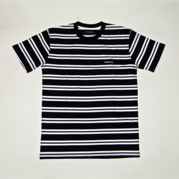 Welcome Skate Store - Striped Embroidered T-Shirt - Black / White