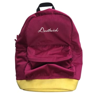 Deathwish Skateboards Script Corduroy Backpack Burgundy