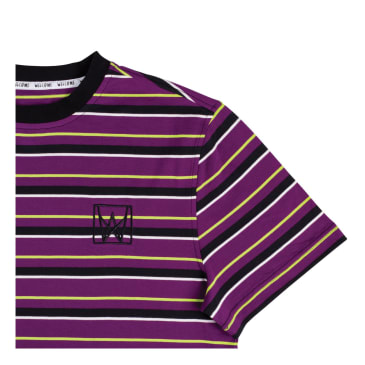 Welcome Skateboards - Icon Stripe Shortsleeve (Purple/Black/Lime)