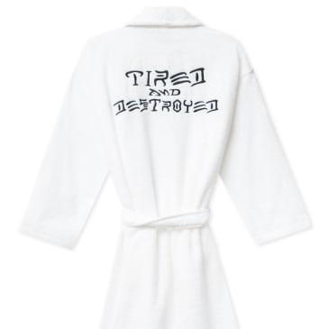 Tired x Thrasher Destroyed Hotel Robe - White