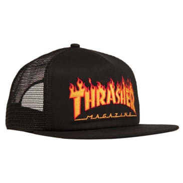THRASHER EMBROIDERED FLAME LOGO MESH HAT - BLACK