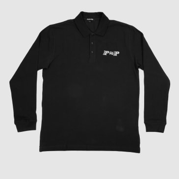"""PASS~PORT """"PPP"""" L/S POLO BLK"""
