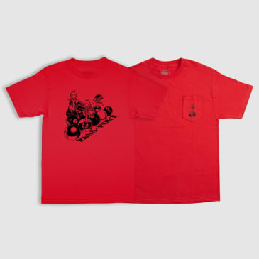 """PASS~PORT """"DUCKS IN A ROW"""" POCKET TEE RED"""
