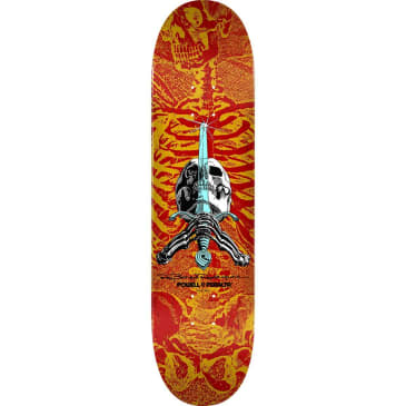"Powell Peralta Deck Skull and Sword Red/Yellow 8.0"" x 31.45"""