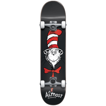 "Almost Skateboards - 7.875"" Cat Face First Push Complete Skateboard (Black)"