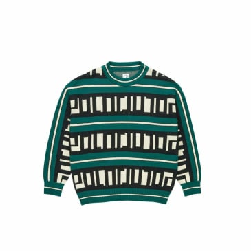 Polar Skate Co Square Logo Knitted Sweater - Green / Black / Ivory