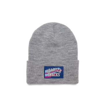 Quartersnacks Rubber Label Beanie - Grey