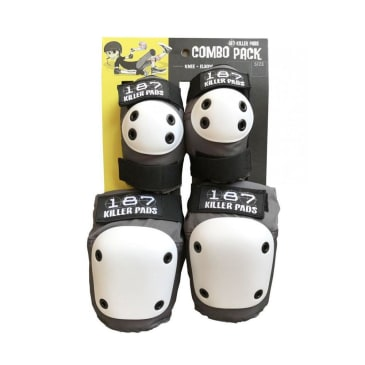 187 Killer Pads Adult Knee & Elbow Combo Pack - Grey/Black/White