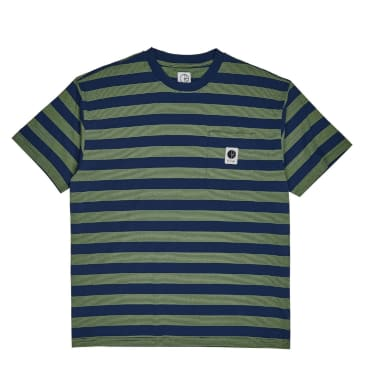 Polar Skate Co Stripe Pocket T-Shirt - Dark Blue/Lime