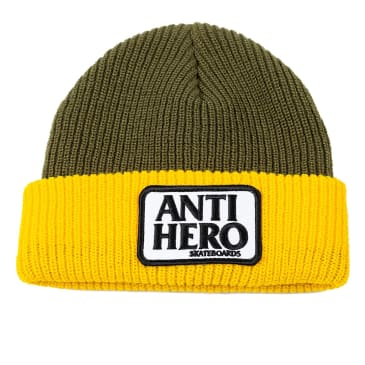 ANTIHERO Reserve Patch Beanie Olive/Yellow