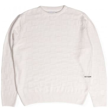 Pop Trading Company Checked Panel Knit - Off White