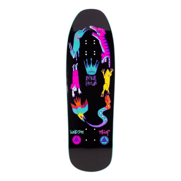 Welcome Skateboards Chris Miller Animal Kingdom on Gaia Skateboard Deck Black / Teal Dip - 9.6""