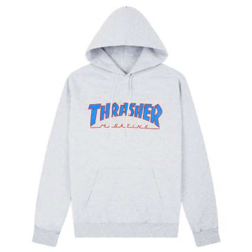 Thrasher Outlined Hooded Sweatshirt (Ash Grey/Blue/Red)