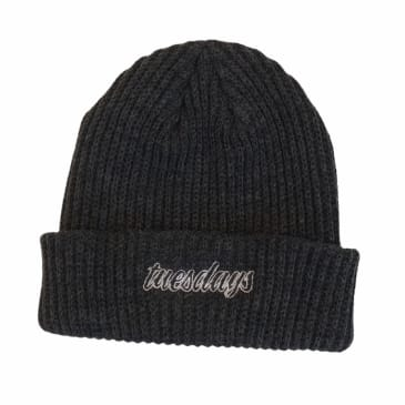 Tuesdays Script Ribbed Beanie Charcoal
