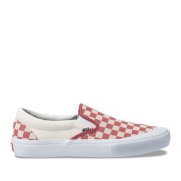 Vans Slip On Pro Skate Shoes - Checkerboard Mineral Red