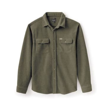 Brixton Bowery Fleece Flannel Shirt - Military Olive